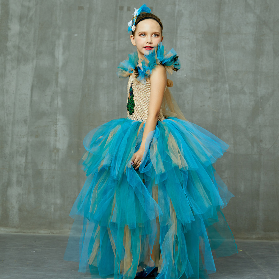 LIMITED EDITION Luxury Girls Peacock Tutu Dress with Matching Headband Multi-layer Kids Pageant Tulle Ball Gowns Peacock Costume (6)
