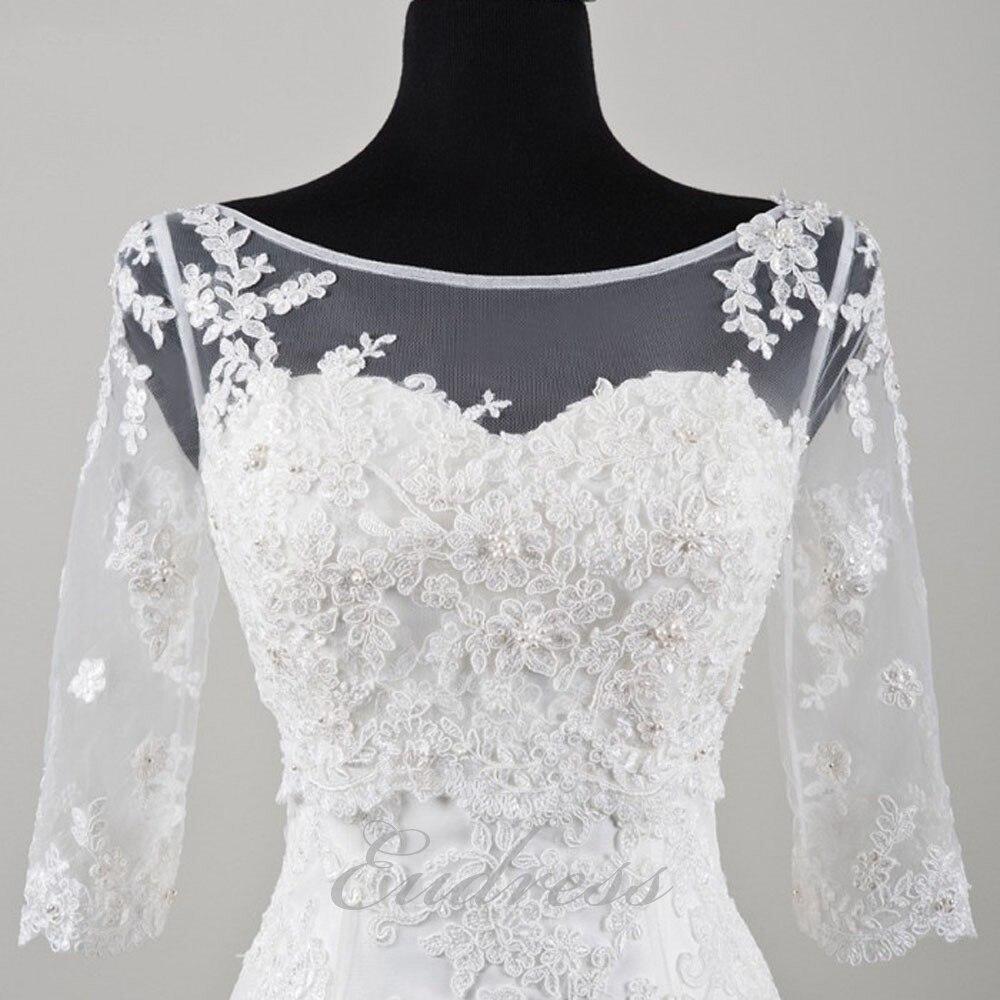 Summer 3/4 Sleeve Lace Wedding Jacket Bridal Shawls Beaded Bolero V Back Elegant Wedding Accessories Sheer