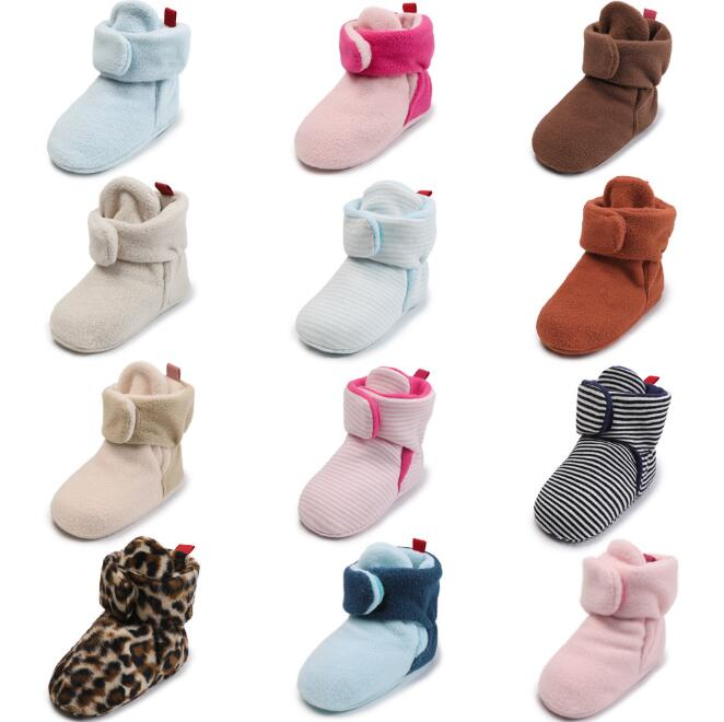 Winter Warm Baby Shoes Newborn Boys Girls Solid Color Strip Cotton Baby Boots Soft Bottom Infant Toddler Shoes First Walker