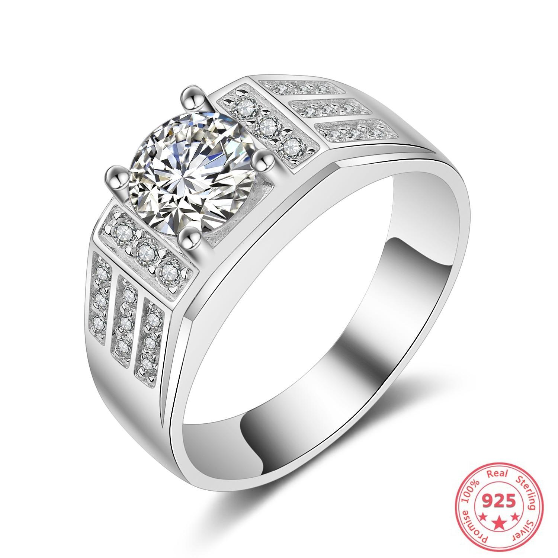 S925 Sliver VVS1 Diamond Ring Jewelry For Men Anillos De Wedding Bizuteria White Topaz Gemstone Diamond Jewelry Cirle Ring Men