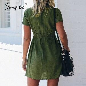 Image 5 - Simplee grande taille femmes robe boutons décontracté taille haute à manches courtes robe dété solide streetwear plage sexy robe de bureau 2020