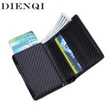 Dienqi carteira masculina, carteira pequena em couro com três compartimentos, preta, 2020 envio do frete