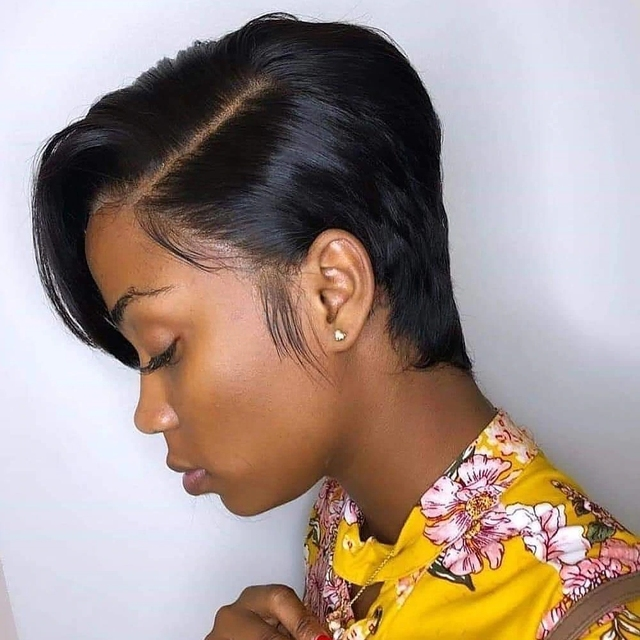 Pelucas de Bob corto, Peluca de corte Pixie, pelo Remy brasileño liso, densidad 150% Mi Lisa, pelucas de cabello humano hechas a máquina para mujeres negras