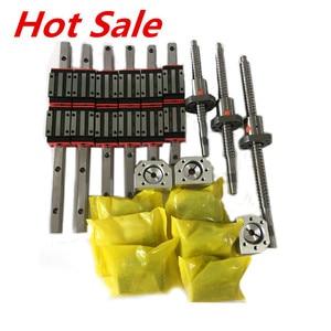 Envío gratis 3 ejes 4aixs 15mm carriles lineales guía lineal HGR15 HGH15 y 16mm tornillo de bola SFU1605/SFU1610 conjunto para enrutador CNC
