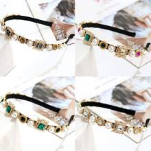 Baroque Vintage Full Jewelry Embellished Headband Women Banquet Prom Crown Hair Hoop Colored Alloy Imitation Diamond Headpiece(China)