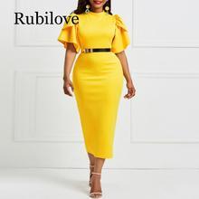 Rubilove 2019 women office dress ladies yellow working girl ruffle zipper plus size evening summer bodycon midi dresses sl