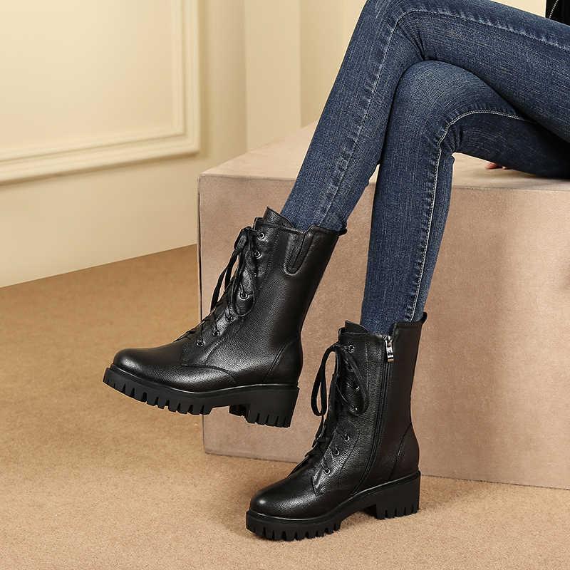 ASUMER/2020 г. Новые женские ботинки из натуральной кожи повседневные ботильоны на шнуровке и молнии осенне-зимняя обувь на высоком квадратном каблуке с круглым носком