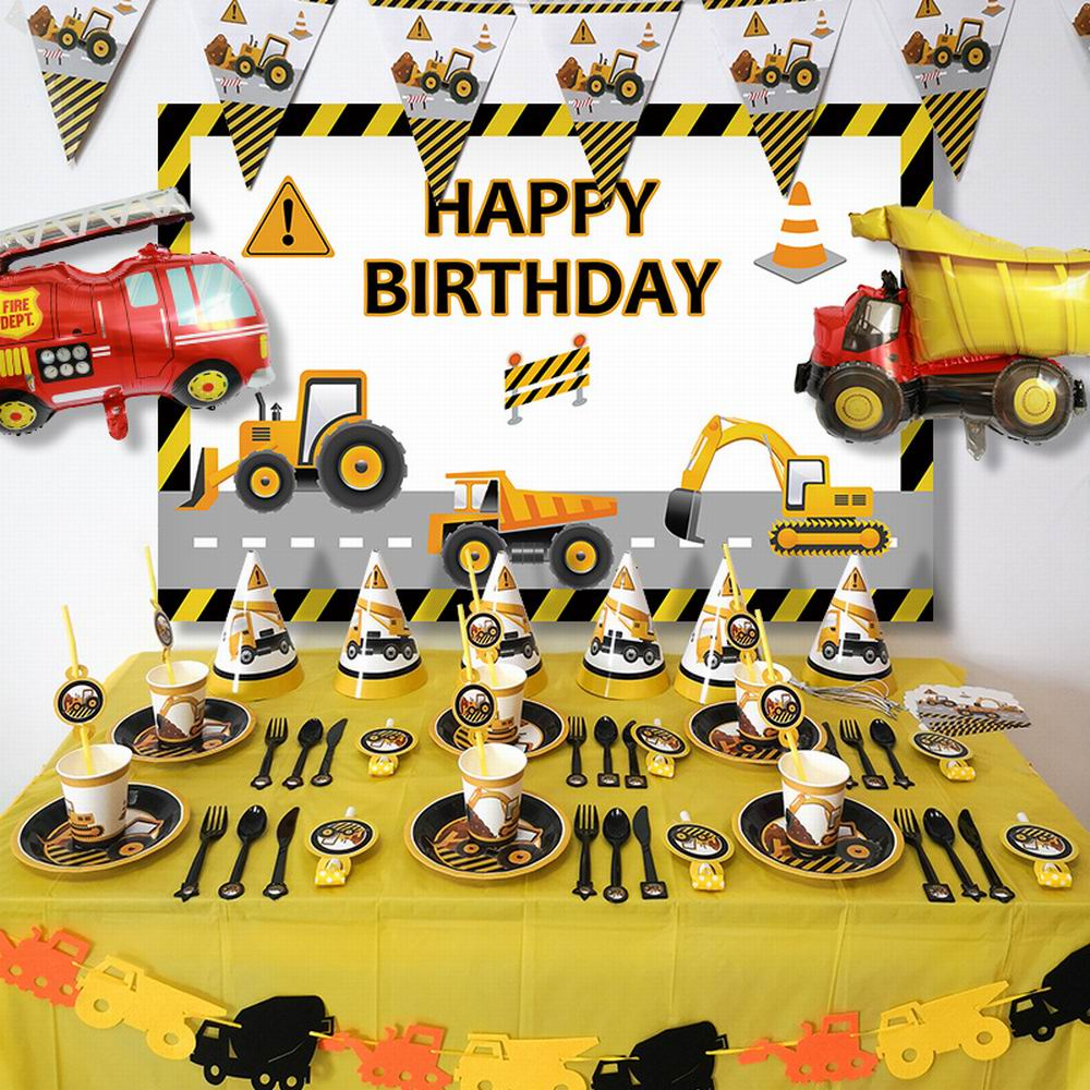 Construction Tractor Theme Excavator Inflatable Balloons Truck Vehicle Banners Baby Shower Kids Boys Birthday Party Supplies