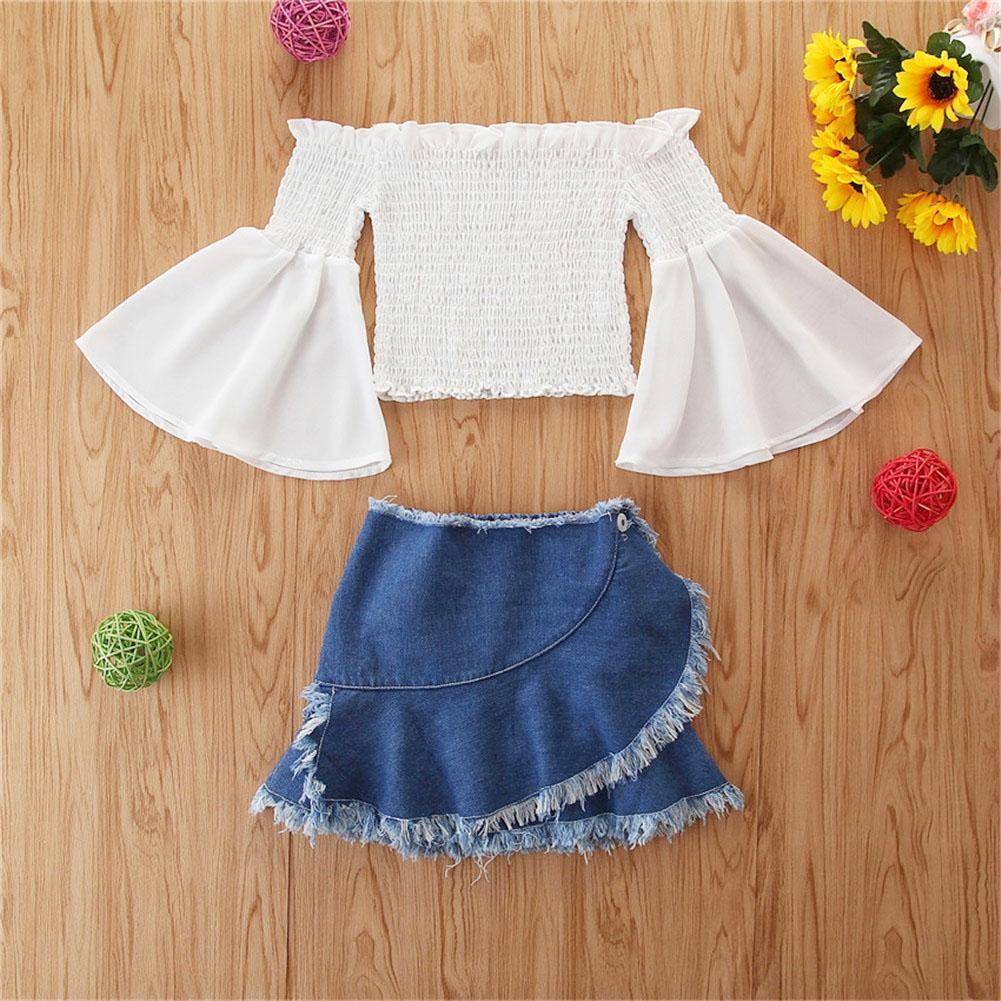 Skirt Sets Little Girls Skirt Suits Children Solid Color Long Flare Sleeve Top