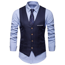 Vests Suit Waistcoat Business-Jacket Formal-Dress Wedding-Party Male Casual Sleeveless