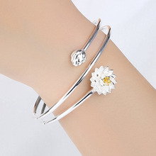 fashion Lotus cuff bracelet Stainless steel charm bracelets for women jewelry Exquisite statement bracelet jewelry gift недорого