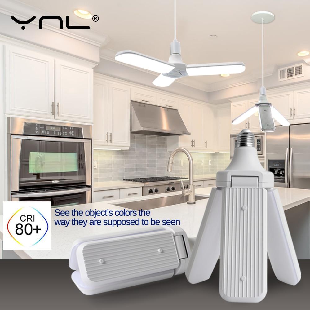 Led Lamp 45W E27 Led Bulb Creative Ceiling Fan Lampada Garage Led Light AC220V Foldable Fan Blade Angle Adjustable Fold Led Bulb
