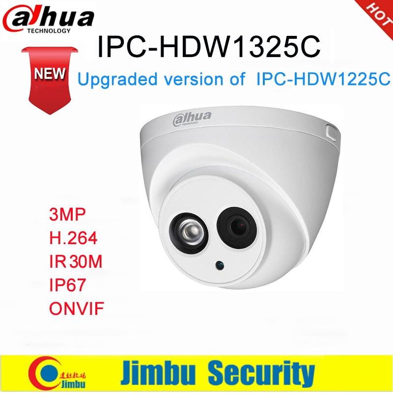 Dahua IP Camera 3MP IPC-HDW1325C H.264 IP67  CCTV Camera IR 30M Surveillance Network Dome Camera ONVIF