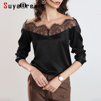 SuyaDream Women Lace Spliced Black Blouses 100%Silk Long Sleeved Lace Collar OFFICE Blouse SHIRT 2020 Spring Elegant Top