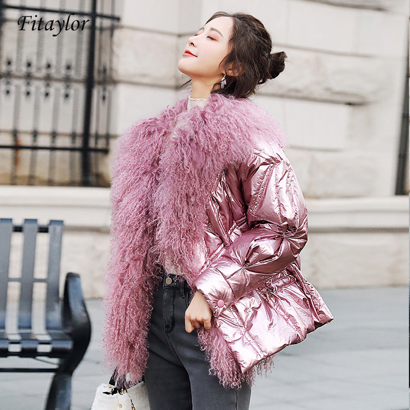 Fitaylor Women's Winter Silver White Duck Down Jacket Glossy 2019 Big Real Fur Collar Pink Blue Warm Parkas Female Short Coats