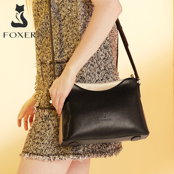 FOXER Women Shoulder Bag Cow Leather Crossbody  Bag for Female Simple & Luxury Shoulder Bag Lady Brand High Quality Bags foxer brand 2018 women s leather bag fashion crossbody bags for women chain bags girl shoulder bag gift for valentine s day