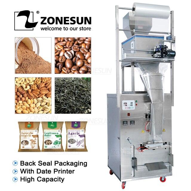 ZONESUN 10 999g Large Capacity Automatic Filling Sealing Machine Food Coffee Bean Grain Powder Bag Back Seal Packaging Machine