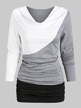 Wipalo günlük T-Shirt kadın kukuletası boyun uzun kollu kontrast dantelli T-Shirt Streetwear eğlence moda sonbahar gevşek üstleri bayanlar