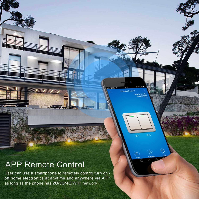 La UE 2 RF Ewelink de Control inteligente Wifi táctil de interruptor de pared doble Control con Alexa de Google