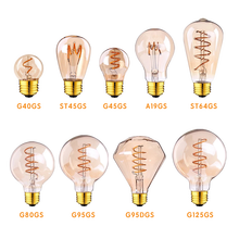 Винтаж спиральная Светодиодная лампа накаливания E27 110V 220V светильник лампы 3W 2200K ST64 G80 G95 затемнения ретро лампы Эдисона с декоративный свети...