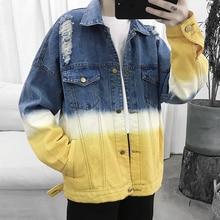 Hip Hop Denim Jacket Men Fashion Wash Gradient Casual Coat Man Streetwear Wild Loose Bomber M-2XL