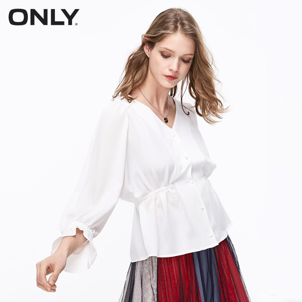 ONLY Women's White Cinched Waist Flared Wrist Sleeves V-neckline Chiffon Shirt | 11926W502