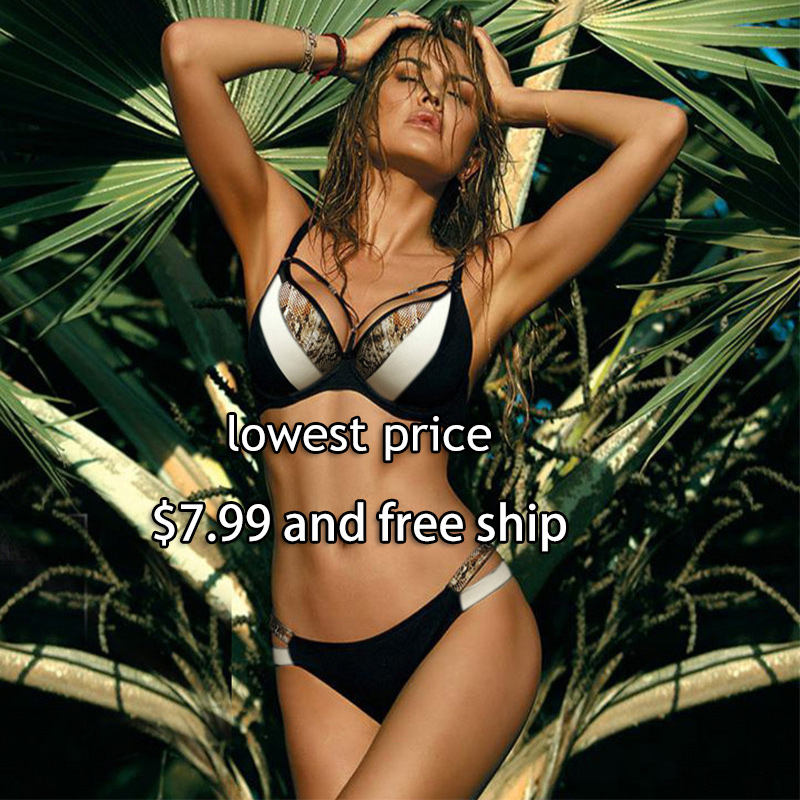 Rinabe 2019 Print Snake Skin Bikini Push Up Leopard Swimsuit Female Hollow Out Swimwear Women Bathing Suit Sexy Cup Bikini Set