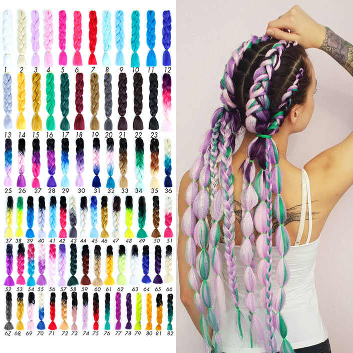 Jumbo Braids Hair Accessories Long Ombre Jumbo Synthetic Braiding Hair Yellow Pink Purple Gray Hair Extension Oversized Tweezers