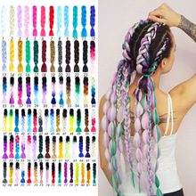 Jumbo Braids Hair Accessories Long Ombre Synthetic Braiding Yellow Pink Purple Gray Extension Oversized Tweezers