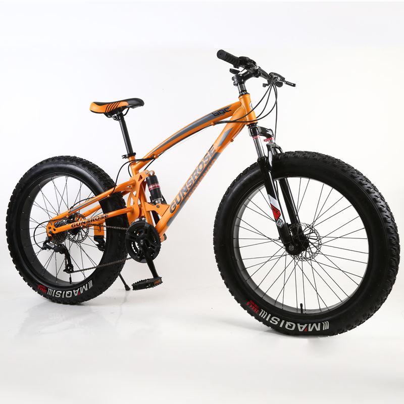 26 Inch Fat Bike Adult Fat Tire Snow Beaches Mountain Bike 7/21/24/27 Speed Double Disc Brake Carbon Steel Frame Student Bicycle