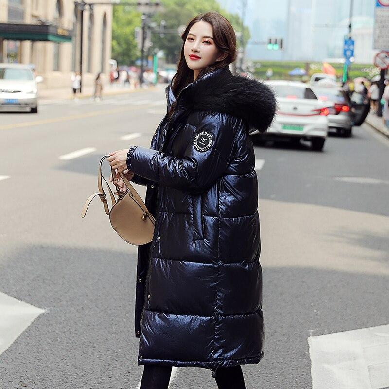 Runway Women Winter Jackets Long Warm Coat  Female Jacket Big Fur Collar 2019 Ladies Parka Abrigos Mujer Invierno