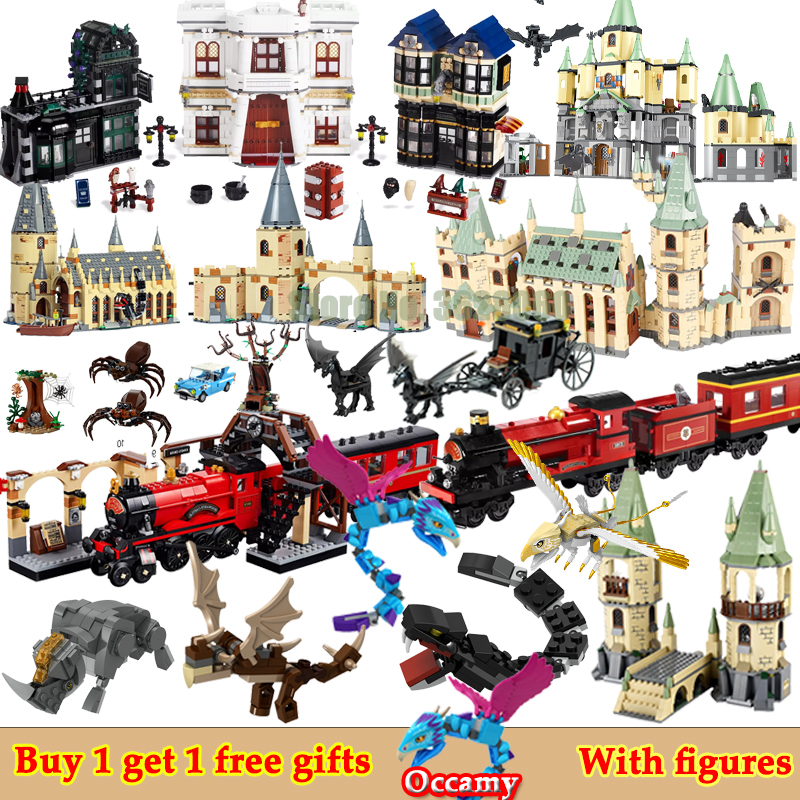 For LEGOing City Creator Movie Harri Castle House Hall Diagon Alley Hogwartse Express Blocks Christmas LEGOings Friends Marvel