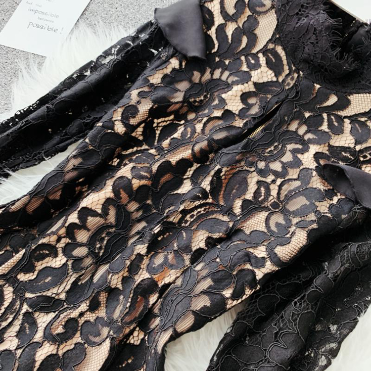 Vintage Bodycon Black Lace Dress 9