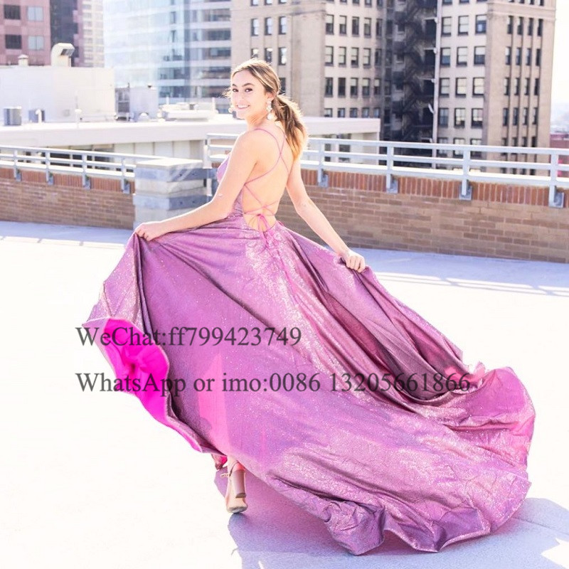 Sexy Criss Cross Backless Split Prom Dresses Bling Sequin A Line платье 2021 Sweep Train Long Evening Dress Party For Women