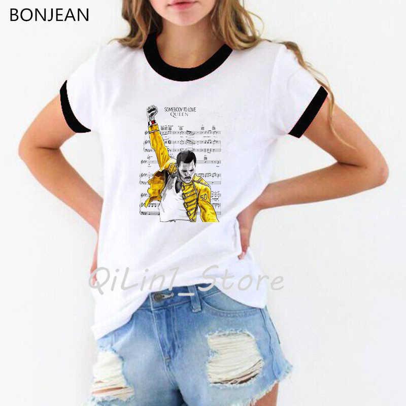 Freddie Mercury Die Königin Band T Hemd Frauen Hip Hop Retro Rock Hipster t-shirt femme Vintage Weibliche t-shirt tumblr tops t