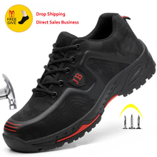 XPUHGM Breathable Safety Work Shoes Men Women Steel Toe Cap Work Shoes Anti-smashing Construction Working Safety Sneakers Men