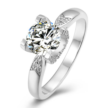 Classic 6.5mm D Color Moissanite Ring 925 Sterling Silver Pass Diamond Test Excellent Cut 1 Carat Bull Stone Moissanite Rings