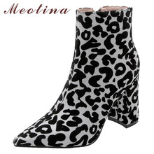 Meotina Women Boots Winter Ankle Leopard Zipper Thick Heel Short Pointed Toe Super High Shoes Lady Autumn 33-43