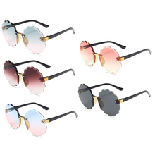 Round Sunglasses Protection Flower Newest Girls UV400 for Boys And Kids Rimless Gradient