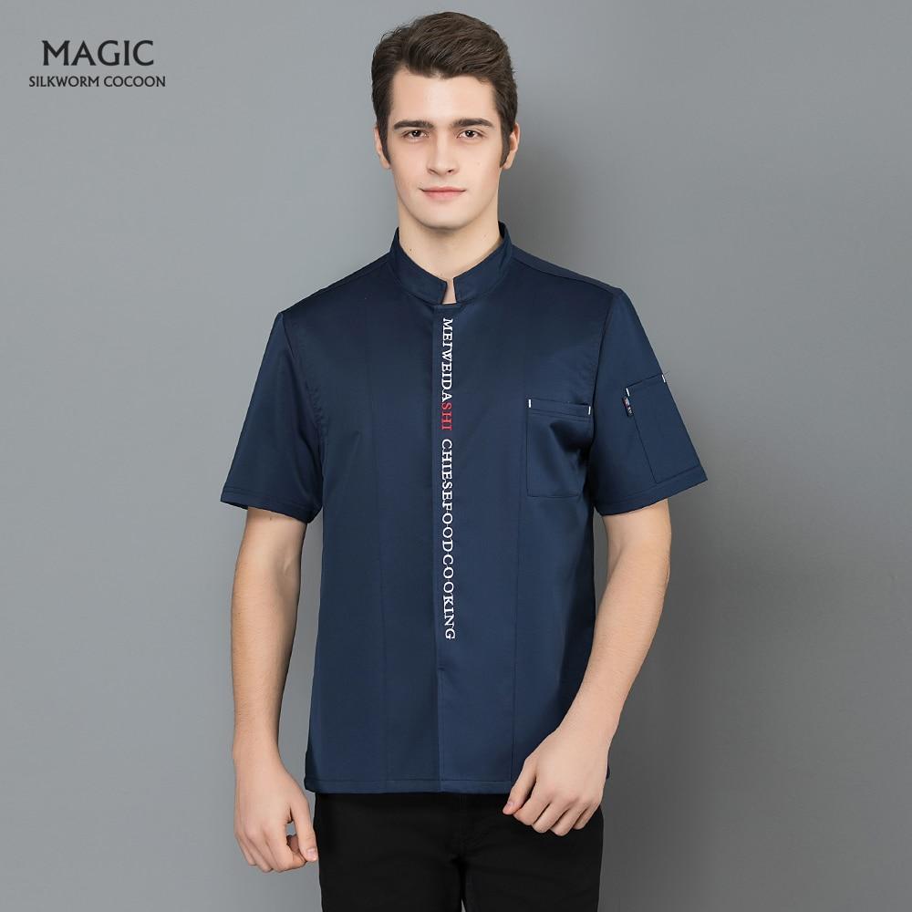 Chef Uniform Shirt Breathable Short Sleeves New Unisex Restaurant Kitchen Chef Jacket+cap+apron Works Clothes For Men Wholesale