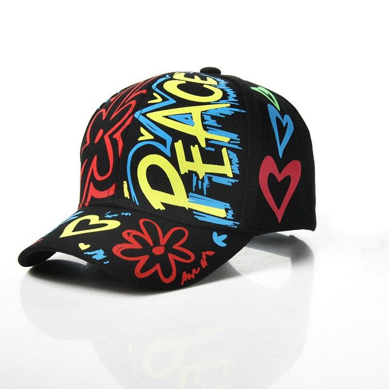 Parent Child Graffiti Printing Peace Baseball Adjustable Cotton Cap For Men Women Summer Snapback Boy Girls Leisure Hats