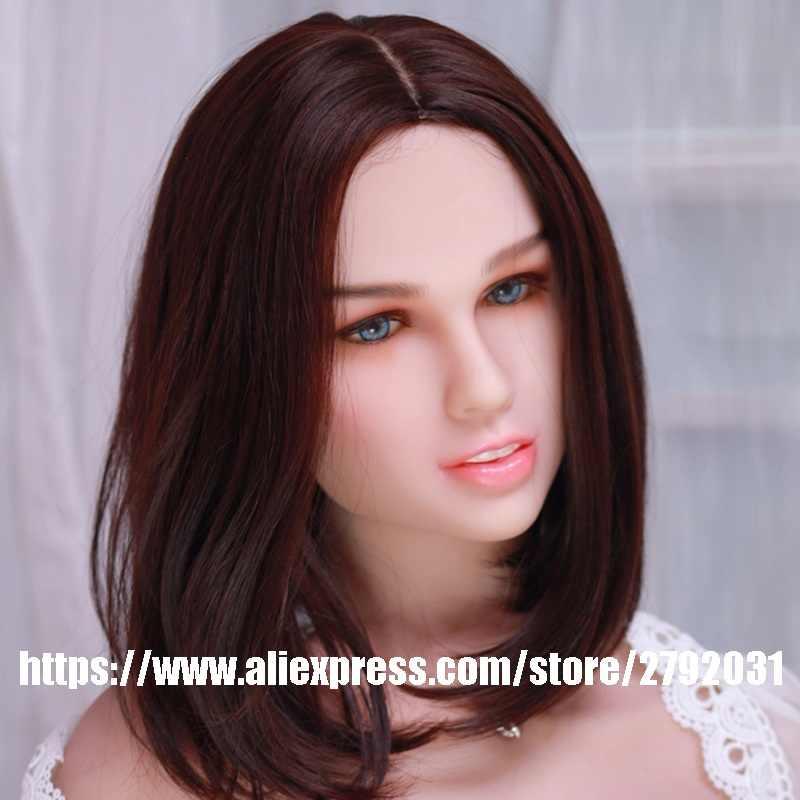 Oral Silikon Boneka Seks Cinta Kepala Boneka Jepang Boneka Seks Mainan Seks untuk Pria dengan Hadiah Wig