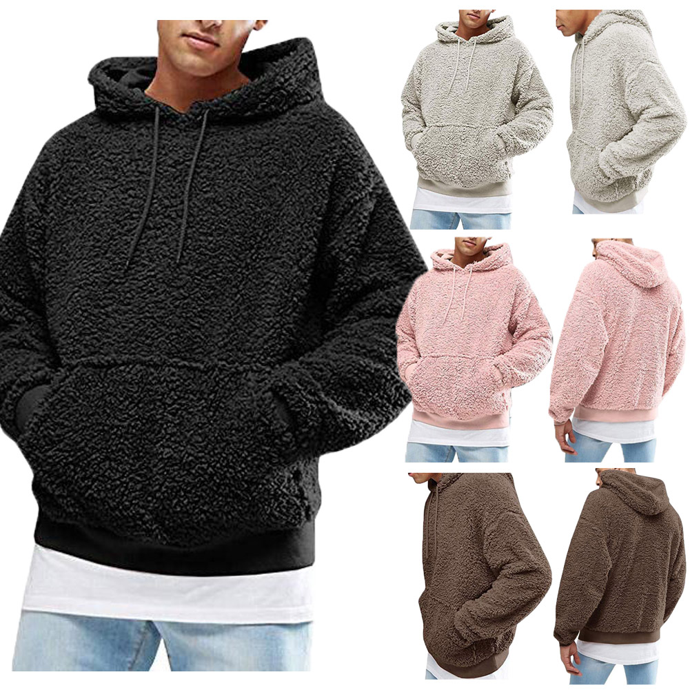 Winter Men's Long Sleeve Polar Fleece Teddy Bear Sweatshirt Hoodie Hooded Tops Pullover 4 Colors Plus Size XXL Fashion Clothes