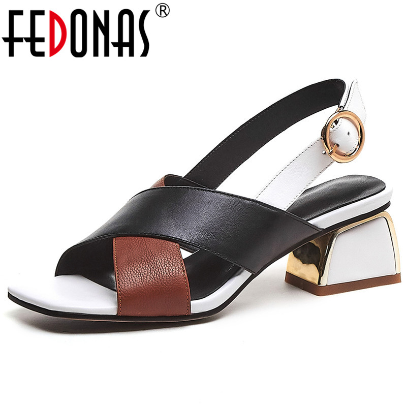FEDONAS New Mixed Colors Genuine Leather Rome Women Sandals Brand Square Toe Hoof Heels Buckle Party Office Lady Basic Shoes