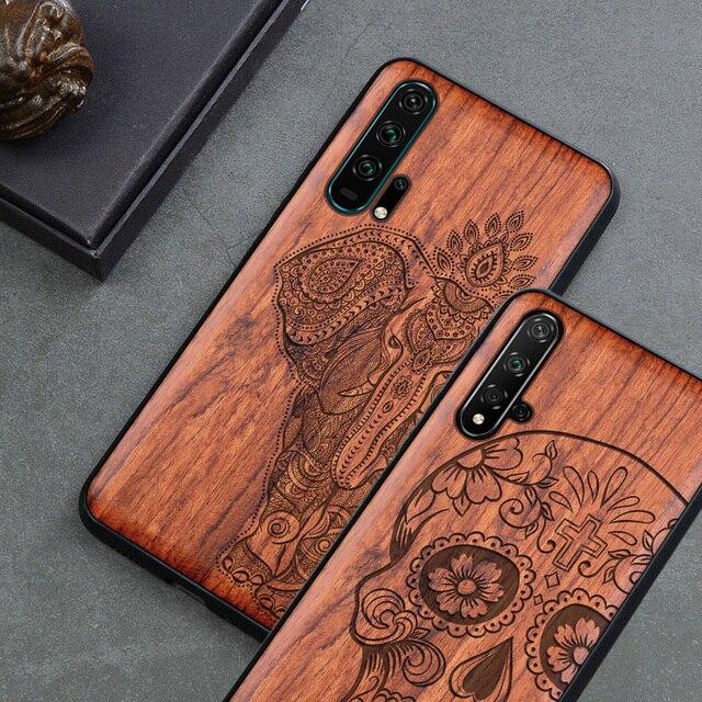 新彫スカルエレファント木製電話ケース Huawei 社の名誉 20 プロ名誉 10 9x 8x 名誉表示 20 10 シリコン木製ケースカバー