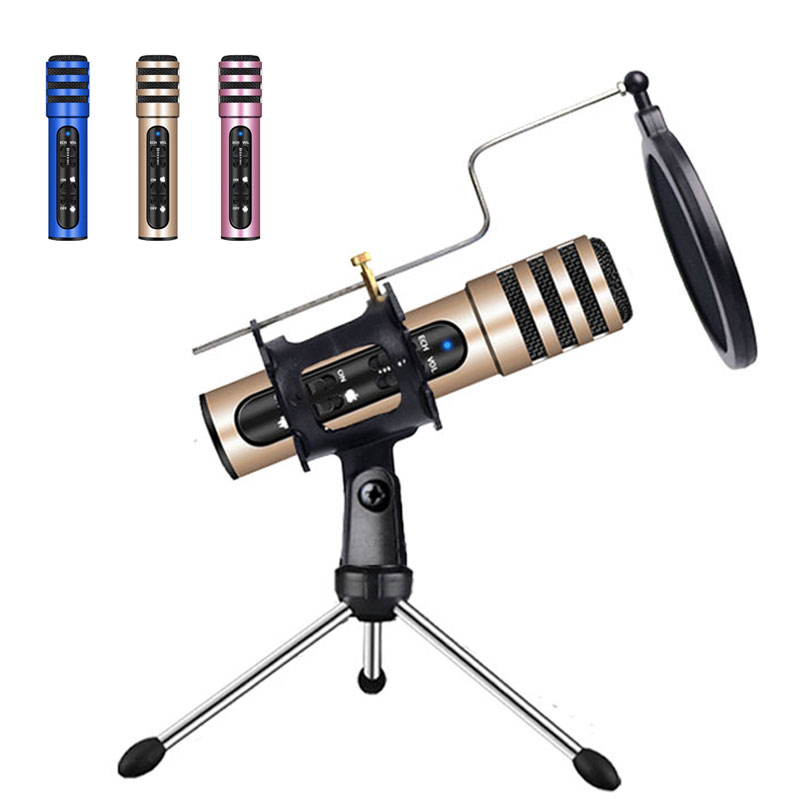 Professional Wireless Condenser Microphone Built-in Sound Card Bracket Kite Accessories For PC Mobile Phone Game Live Karaoke