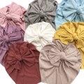 Одежда для малышей в стиле унисекс лук индийского шапка трикотажная Репсовая ткань из хлопка с тюрбан из хлопка с бантиком, головной убор, о...