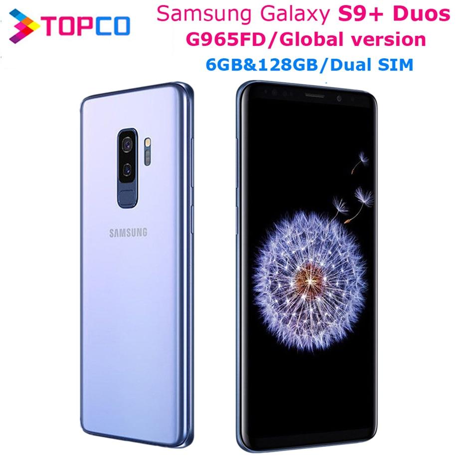 Оригинальный мобильный телефон Samsung Galaxy S9 + Duos S9 Plus G965FD, глобальная версия, две Sim-карты, Exynos восемь ядер, 6,2 дюйма, двойная камера 12 МП, 6 ГБ и 128 Г...