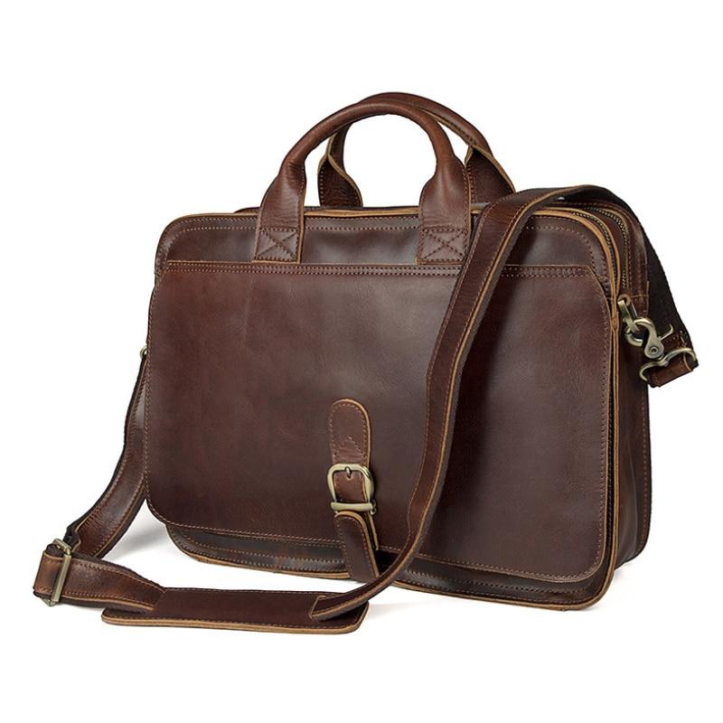 Man Vintage Crazy Horse Leather Briefcase Real Cow Leather Business Handbag 15 Inch Laptop Bag Messenger Shoulder Bag Portfolio