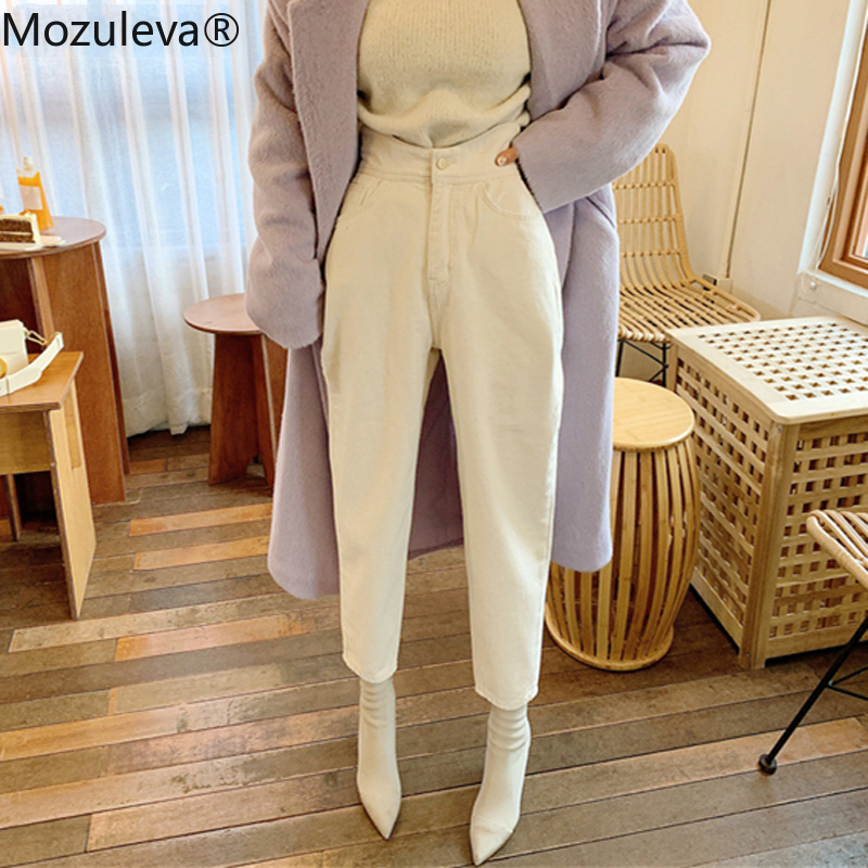 Mozuleva Women Wide Leg Jeans Pants Fashion Casual High Waist Loose White Denim Jeans Female Buttons Trousers Spring 2020